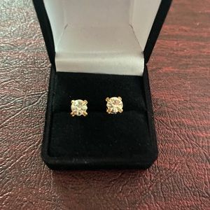 Gold and silver stud earrings